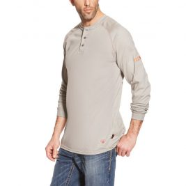 Ariat Flame-Resistant Long Sleeve Henley – Silver