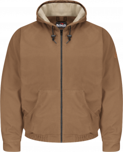 Bulwark Men's Heavyweight Flame-Resistant Brown Duck Hooded Jacket